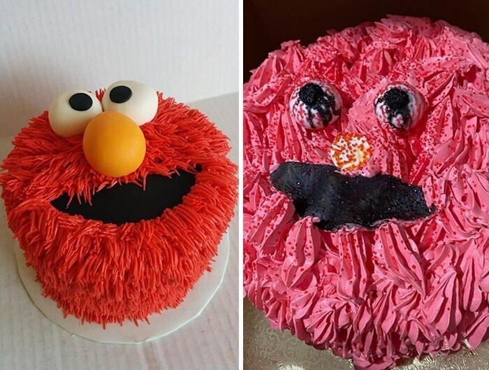 """30. """"Мы заказали тот торт, что слева, а получили то, что справа. Элмо видал и лучшие дни"""""""
