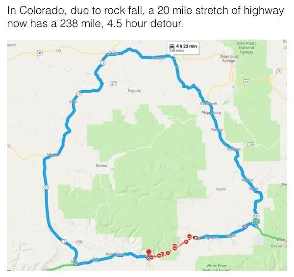 """""""Собирался проехать 30 километров по Колорадо в соседний город. Но из-за дороги, перекрытой камнепадом, пришлось ехать 4,5 часа в объезд"""""""