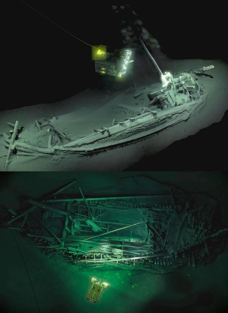36. Самый древний в мире неповрежденный корабль, обнаруженный на глубине 2 километров в Черном море. Этот древнегреческий корабль затонул более 2400 лет назад