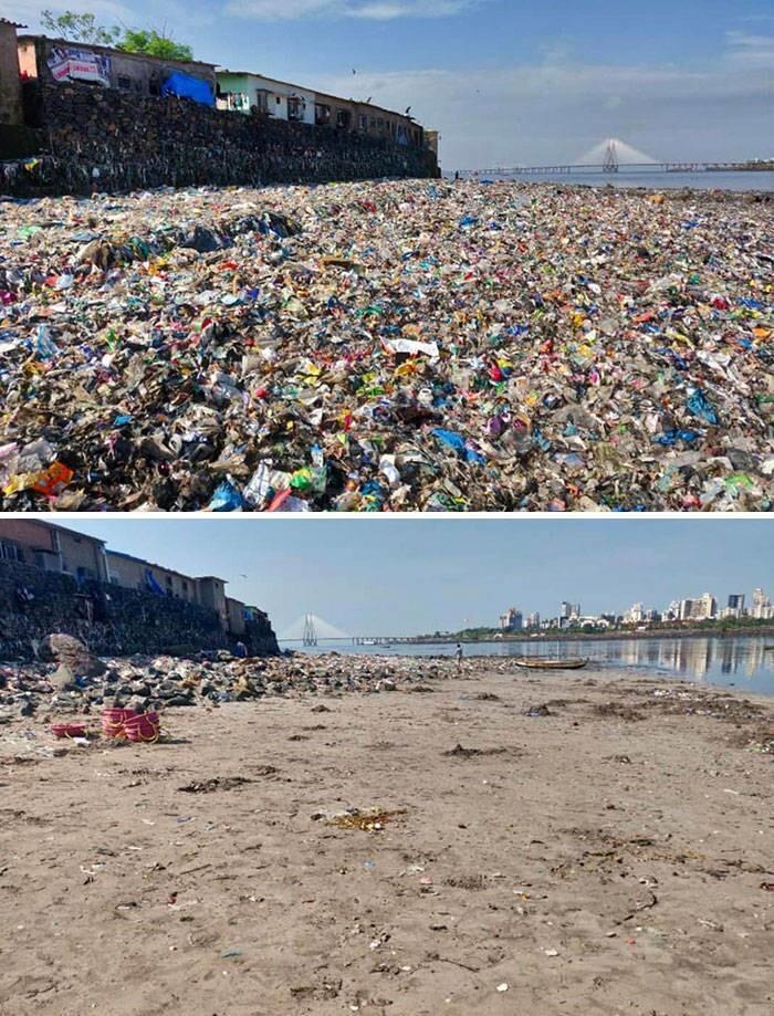43. Фото пляжа в Мумбаи до и после уборки, организованной юристом Афрозом Шахом