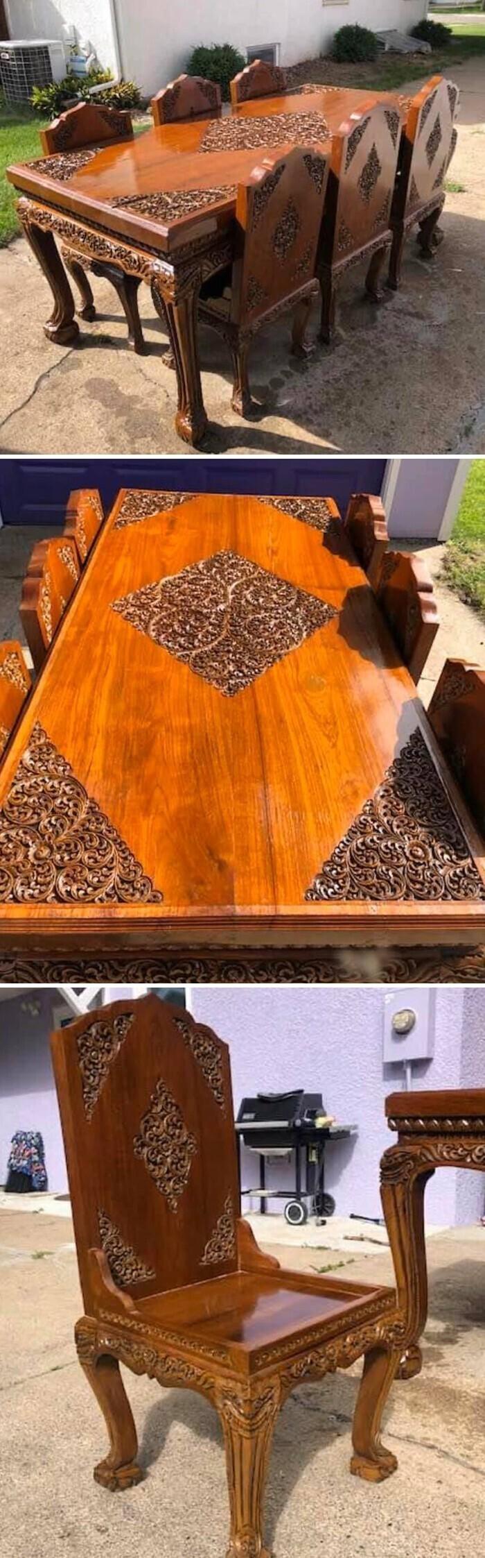 """5. """"Нашла обеденный стол своей мечты на распродаже. Он из цельного дерева и очень тяжелый. Чтобы поднять стул, нужно два человека"""""""