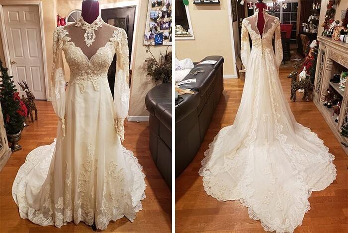 """12. """"Мое винтажное свадебное платье, приобретено за 15 долларов на распродаже Армии спасения"""""""