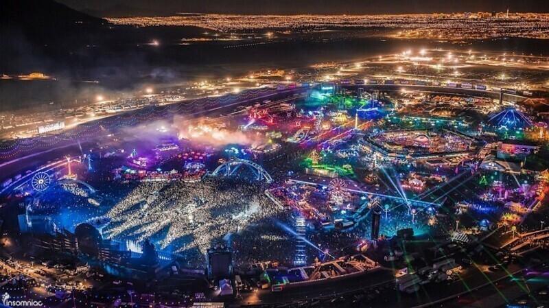 Вид на ночной Лас-Вегас