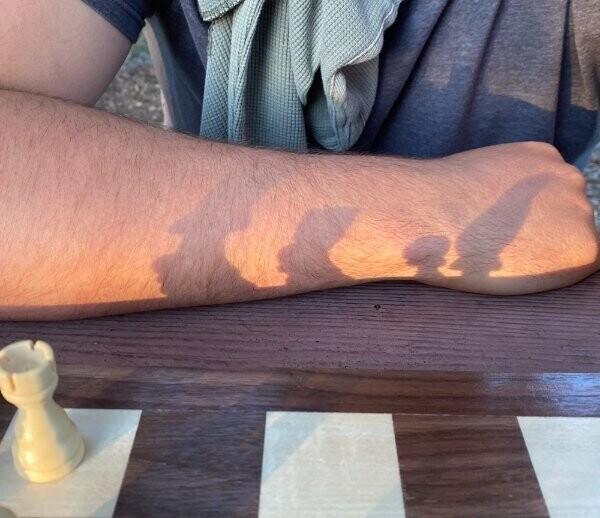 Тени от шахматных фигур похожи на Симпсонов