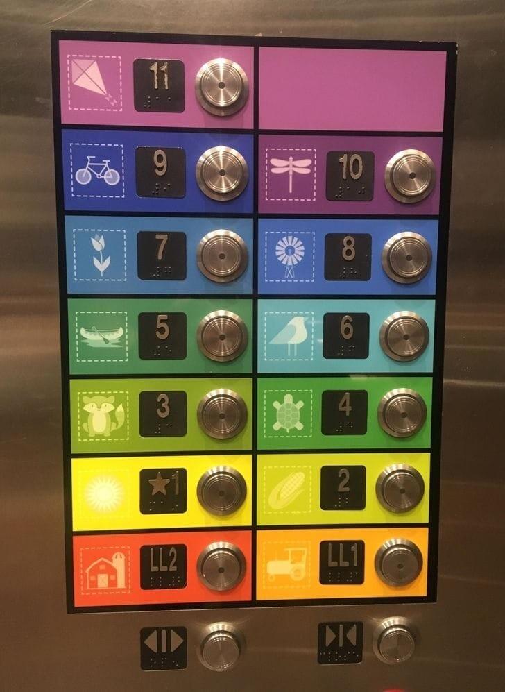 Кнопки лифта в детской поликлинике: красочные и понятные для всех возрастов