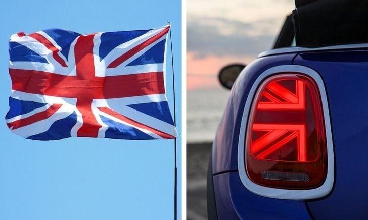Задние фары MINI Купера светят фрагментами британского флага