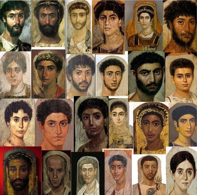 Древние портреты 2000-летних римлян, найденные в некрополе в Египте