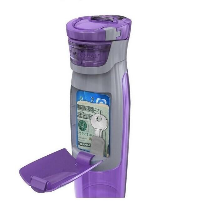 Бутылка для воды с отделением для всего, что можетпонадобиться в спортзале - ключ от шкафчика, карточка, деньги