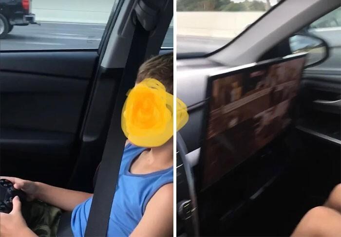 32. Отец года установил в машине PS4. Монитор закрывает подушки безопасности