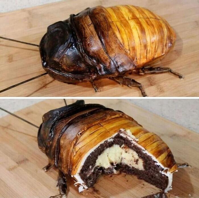 Торт в форме таракана. Как живой!