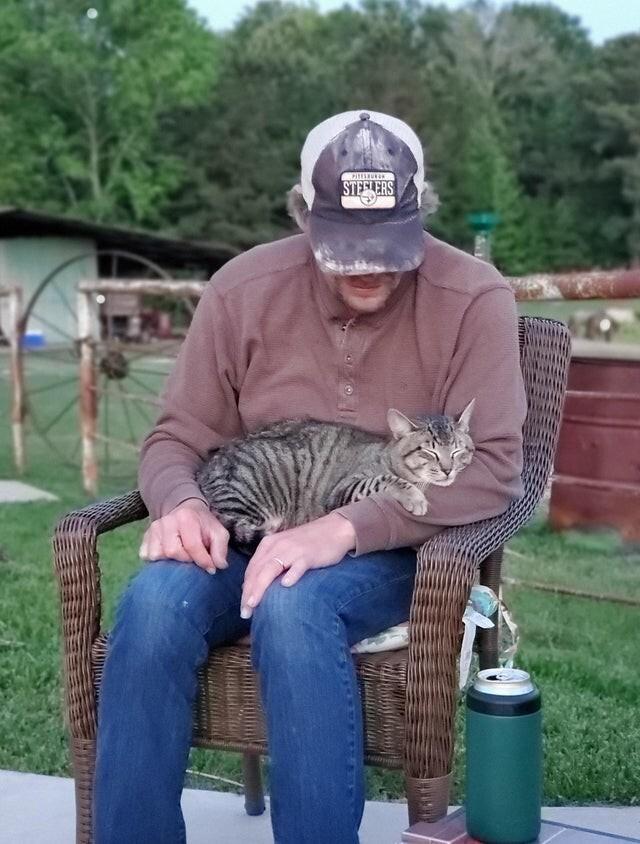 Наш дядя - магнит для котиков. Это чужой мурлыка