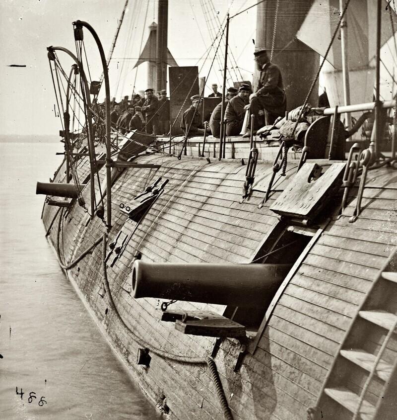 Броненосец USS Galena, один из трёх первых броненосцев американского флота, 1862 год
