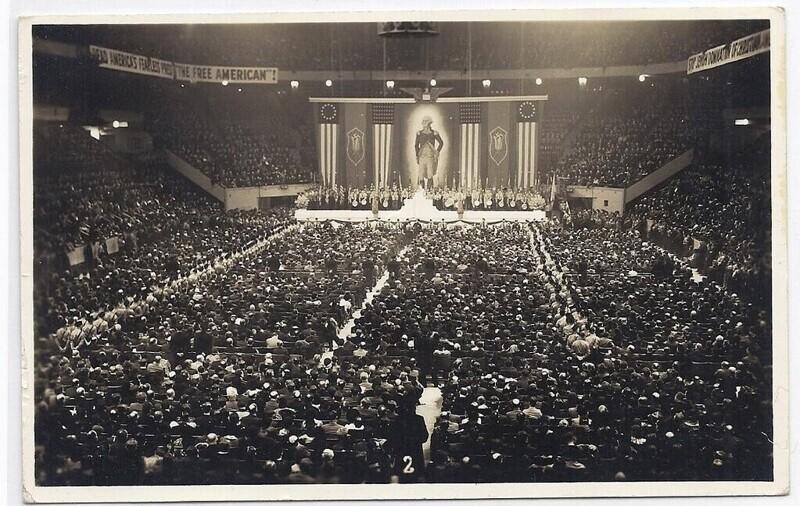 Митинг американской нацистской организации в Мэдисон-сквер-Гарден, Нью-Йорк, 1939 год