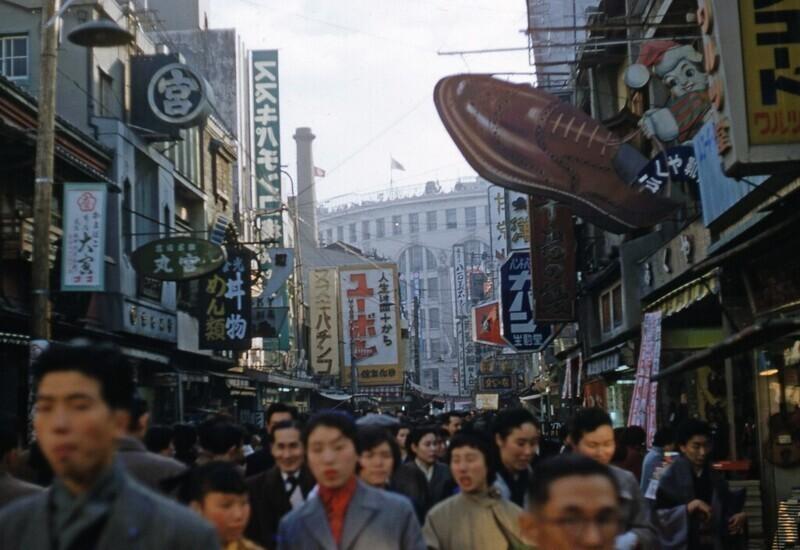 Оживленная улица Японии, 1950