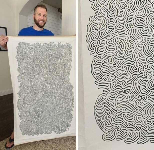 """""""Наконец-то я завершил этот абстрактный рисунок! Он весь состоит из одной линии. Я им очень горжусь!"""""""
