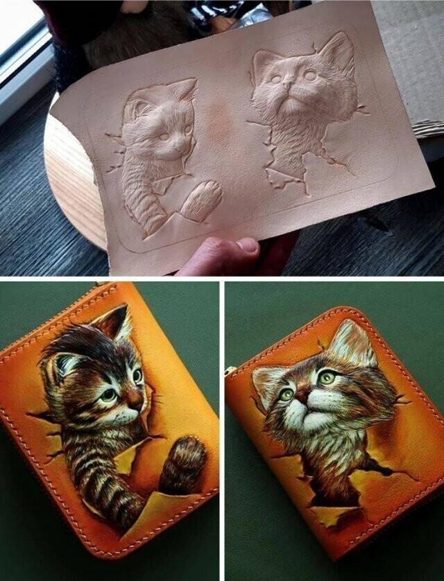 """""""Маленький, но вместительный кошелек. Кошки выполнены в технике ручного тиснения с художественной росписью"""""""