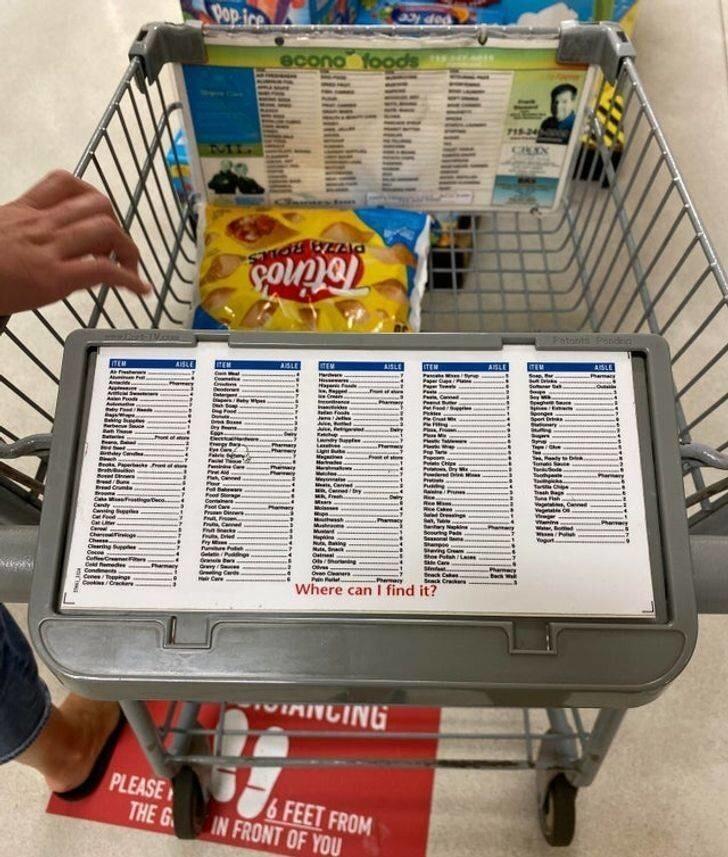 27. И тележка с указаниями, в каком ряду искать какие продукты