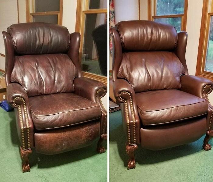 """29. """"Небольшая чистка плюс дешевый набор для ухода за кожей, и вот кресло уже практически как новое"""""""