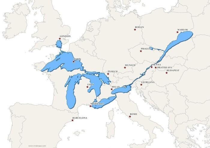 Так выглядели бы Великие озера и река Сен-Лоран на карте Европы