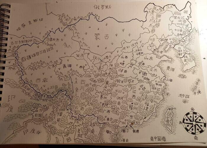 Карта Китая и приграничных государств, нарисованная вручную и подписанная по-китайски