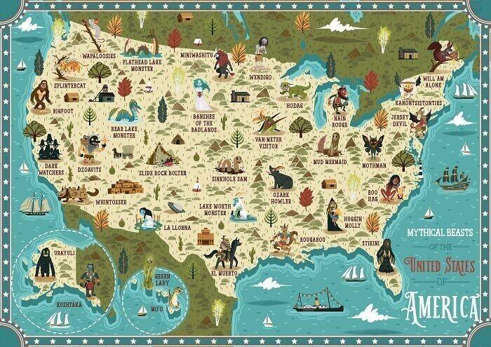Карта распространения мифических животных в США