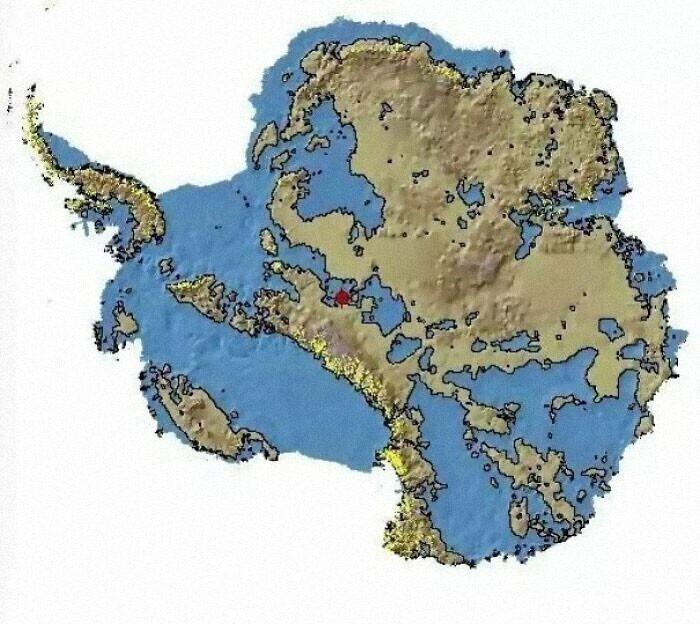 Если бы в Антарктике не было льда, ее карта выглядела бы вот так