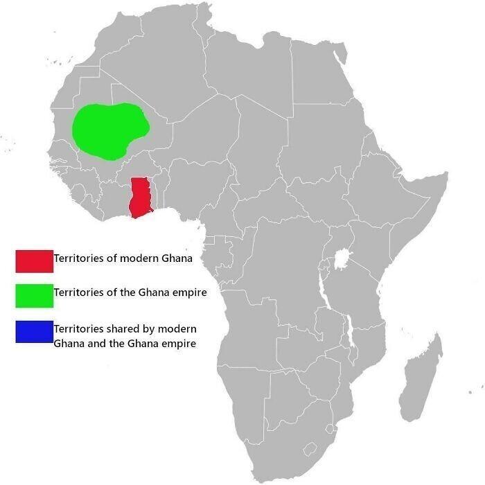 Савнительная карта Ганы и Империи Ганы