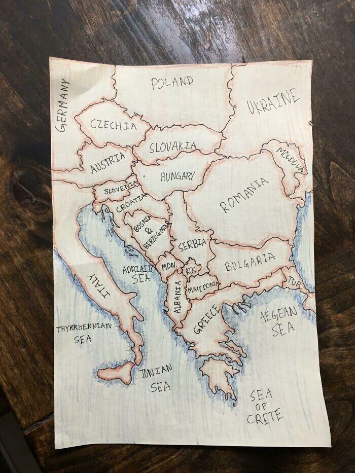 """Вот так мой 12-летний сын нарисовал карту Балкан"""