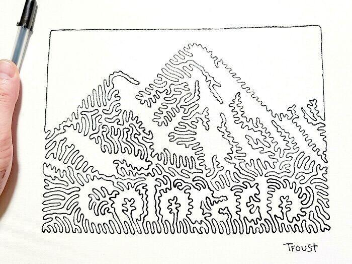 """""""Я рисую карту США, где каждый штат будет нарисован одной линией. Сегодня я звкончил седьмой по счету"""""""
