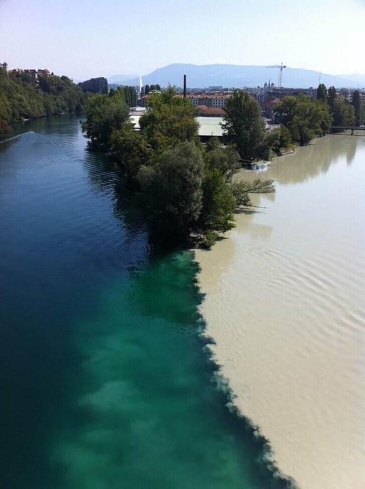 27. Слияние двух рек. Женева, Швейцария