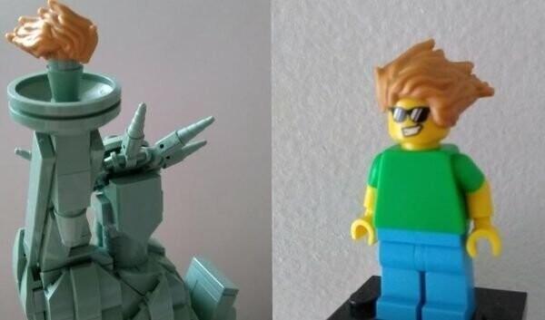 """9. """"Факел Статуи Свободы LEGO можно использовать как прическу на фигурке человечка"""""""