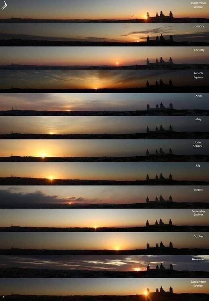 29. Фотографии, сделанные в одном и том же месте, в одно и то же время суток, но в разные месяцы года