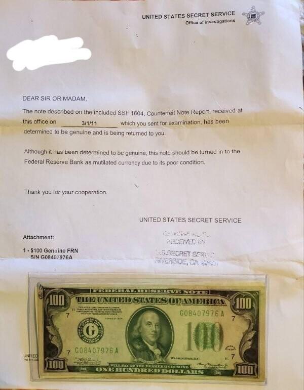 """3. """"У меня есть хрустящая 100-долларовая банкнота 1934 года вместе с письмом от Секретной службы с просьбой уничтожить ее"""""""