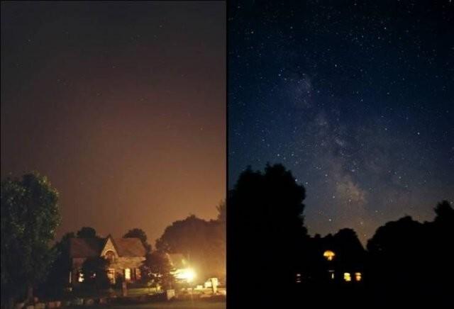 17. Как выглядит небо в обычную ночь vs когда по всему району отключили электричество