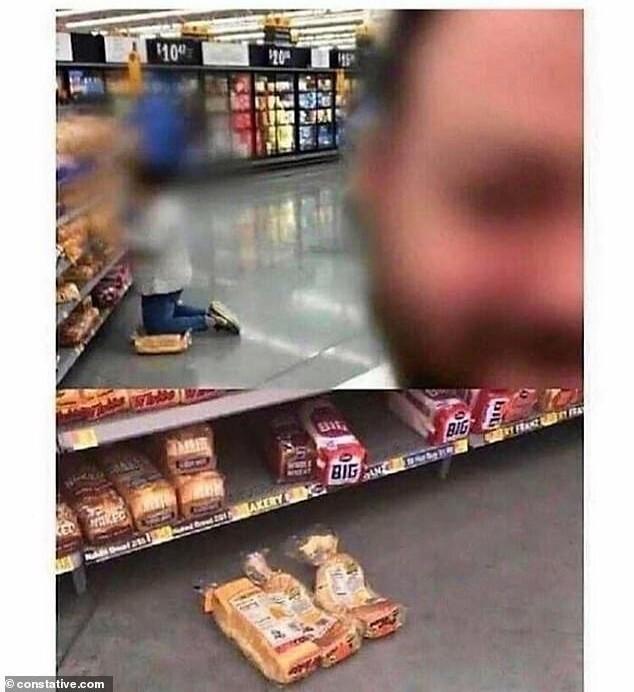 9. Женщина в магазине встала коленями на хлеб, что рассмотреть полки с другим хлебом
