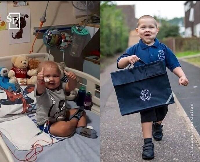 В 4 года Джош Стокхилл заболел лейкемией. Он победил болезнь дважды и теперь  идет в первый класс!