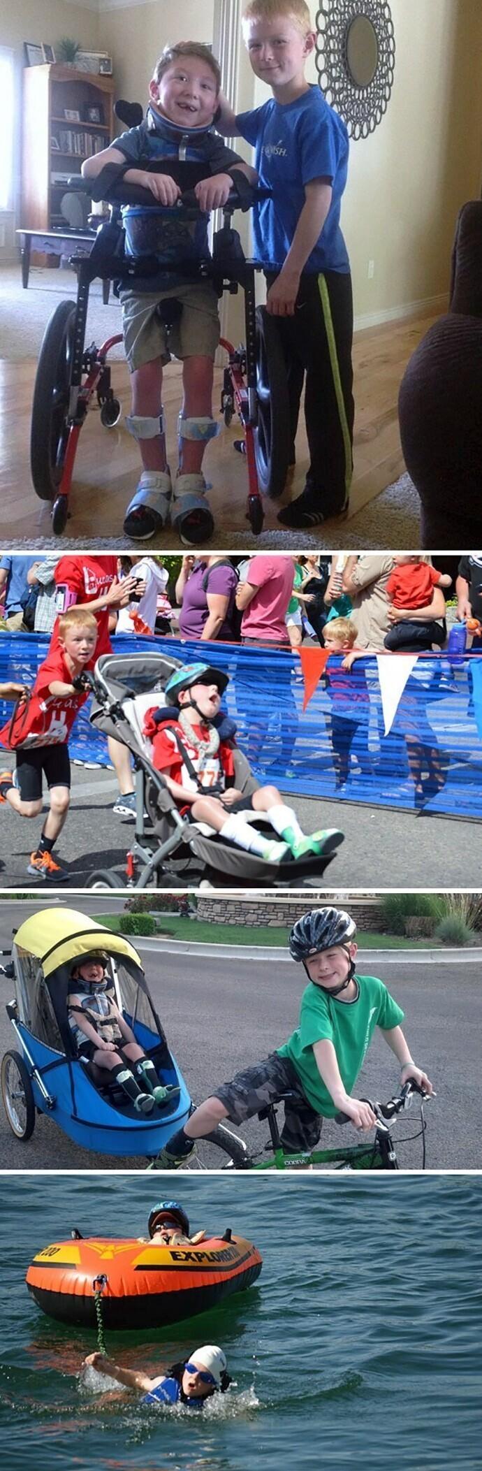 Лукас прошел дистанцию триатлона с помощью своего8-летнего брата Ноа
