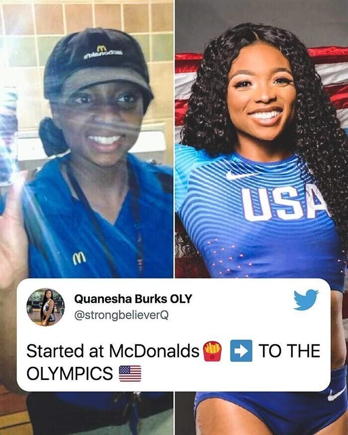 """Несколько лет назад Кванеша Беркс работала в """"Макдоналдсе"""". Сейчас она - член Олимпийской сборной США по легкой атлетике. Кванеша гордится тем, чего достигла, и рассказывает об этом в соцсетях"""