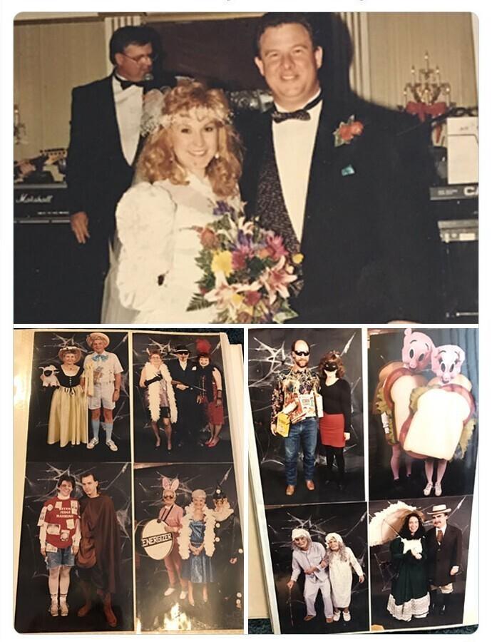 8. Эти двое пригласили друзей и близких на костюмированную вечеринку, а потом огорошили их новостью, что на самом деле это их свадьба