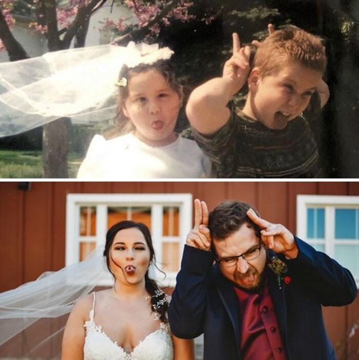"""25. """"Сестра выходила замуж, и мы решили воссоздать это гениальное фото из детства"""""""