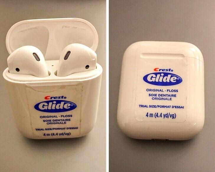 Если стилизовать коробочку для наушников под упаковку с зубной нитью, их точно не украдут