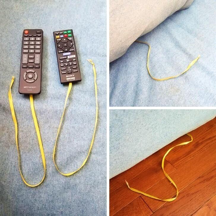 Если снабдить пульты лентой, вы легко найдете их, даже если они завалятся за диванные подушки или упадут под диван