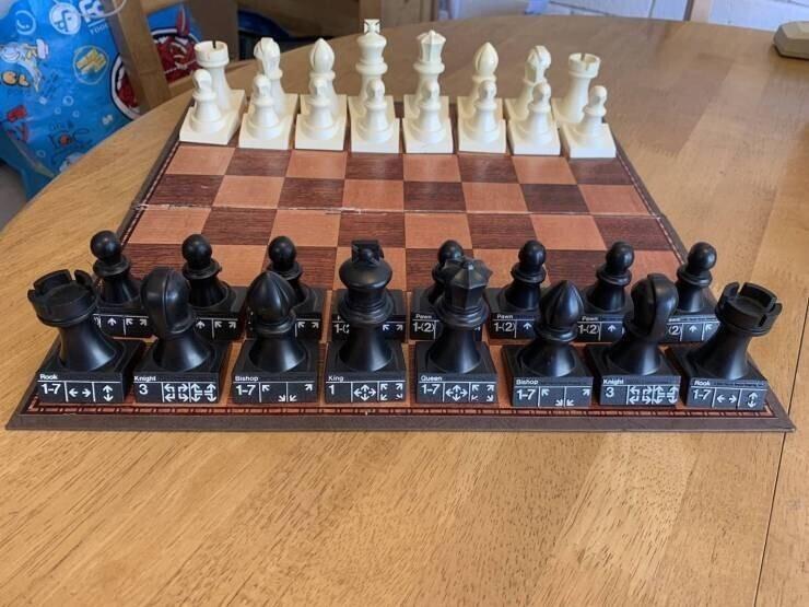 Шахматы для начинающих с инструкциями на каждой фигуре, описывающими варианты ходов