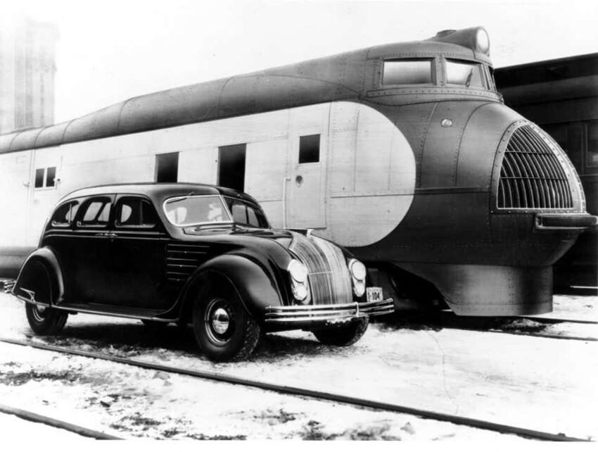 Union Pacific M-10000, первый американский обтекаемый пассажирский поезд с двигателем внутреннего сгорания, 1934 год