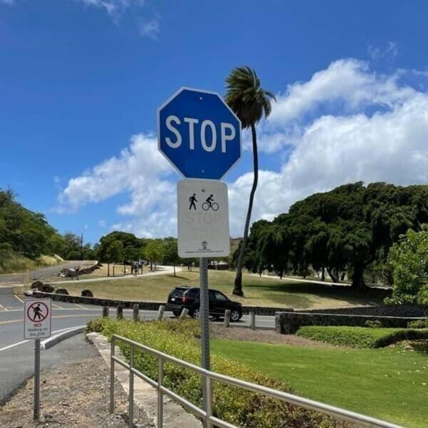 На Гавайях дорожный знак STOP  - не красного, а синего цвета