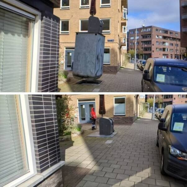 Амстердам славится своими очень большими урнами для мусора
