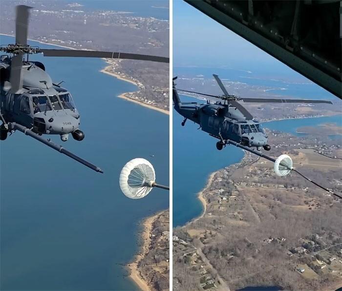 10. Дозаправка вертолета прямо в воздухе