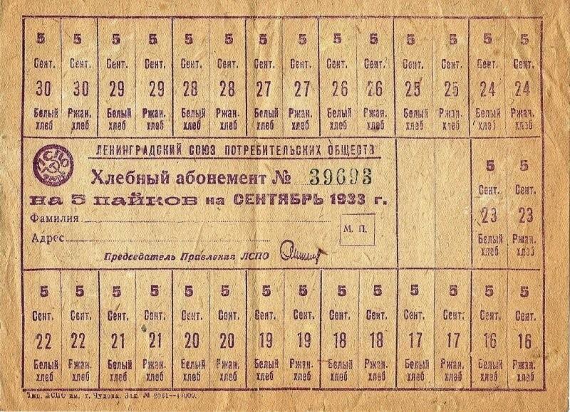 И хотя официально карточки отменили в 1921 году, их пришлось возобновить в 1931 году