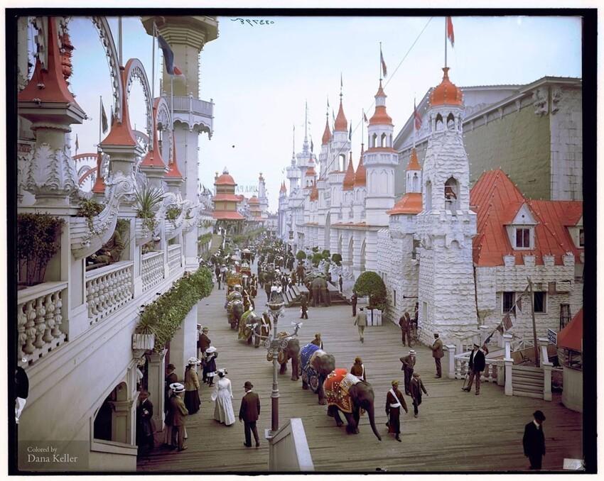 7. Набережная Луна-парка на Кони-Айленде, Нью-Йорк, 1905 год