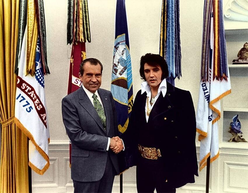 24. Тайная встреча Элвиса Пресли с президентом Никсоном, 1970 год